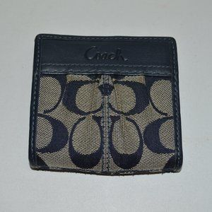 Coach Signature Pleated Slim Bi-Fold Mini Wallet